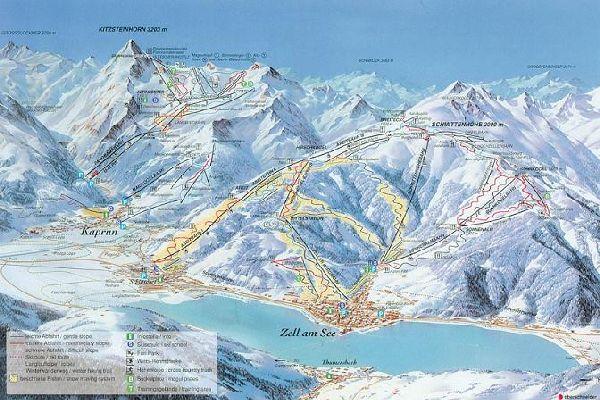 Цель ам Зее, карта горнолыжных
