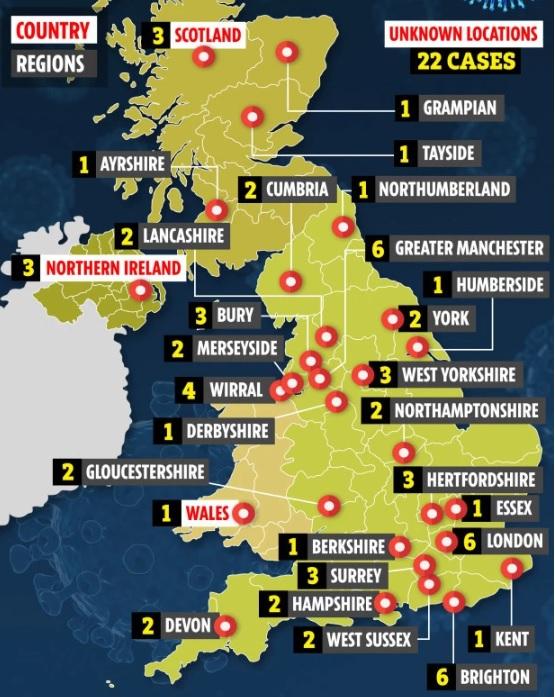 Коронавирус в Великобритании : карта распространения