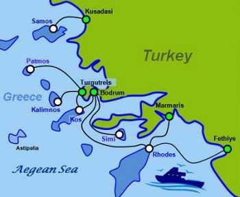 Паромы из Турции в Грецию, карта