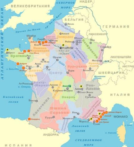 Юго-запад Франции карта
