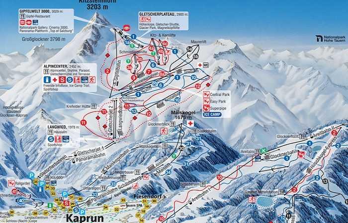 Plan des pistes de Kaprun