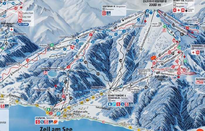 Plan des pistes de Kaprun près de Zell am See