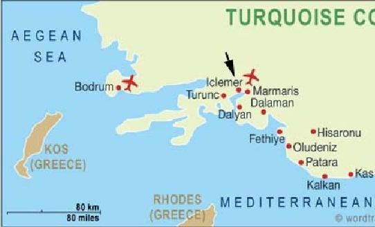 Карта турции курорты эгейского моря